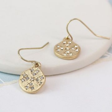 Gold Plated Crystal Inset Drop Earrings in a Worn Finish